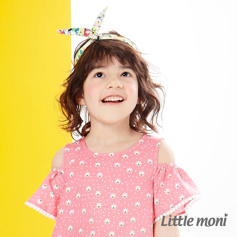 Little moni 輕甜女孩印花造型髮帶 月光黃
