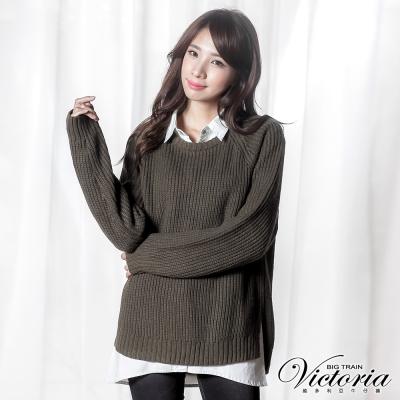 Victoria 寬鬆長版拉克蘭長袖線衫-女-綠色