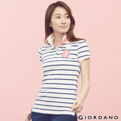 GIORDANO-女裝勝利獅王盾牌修身POLO衫