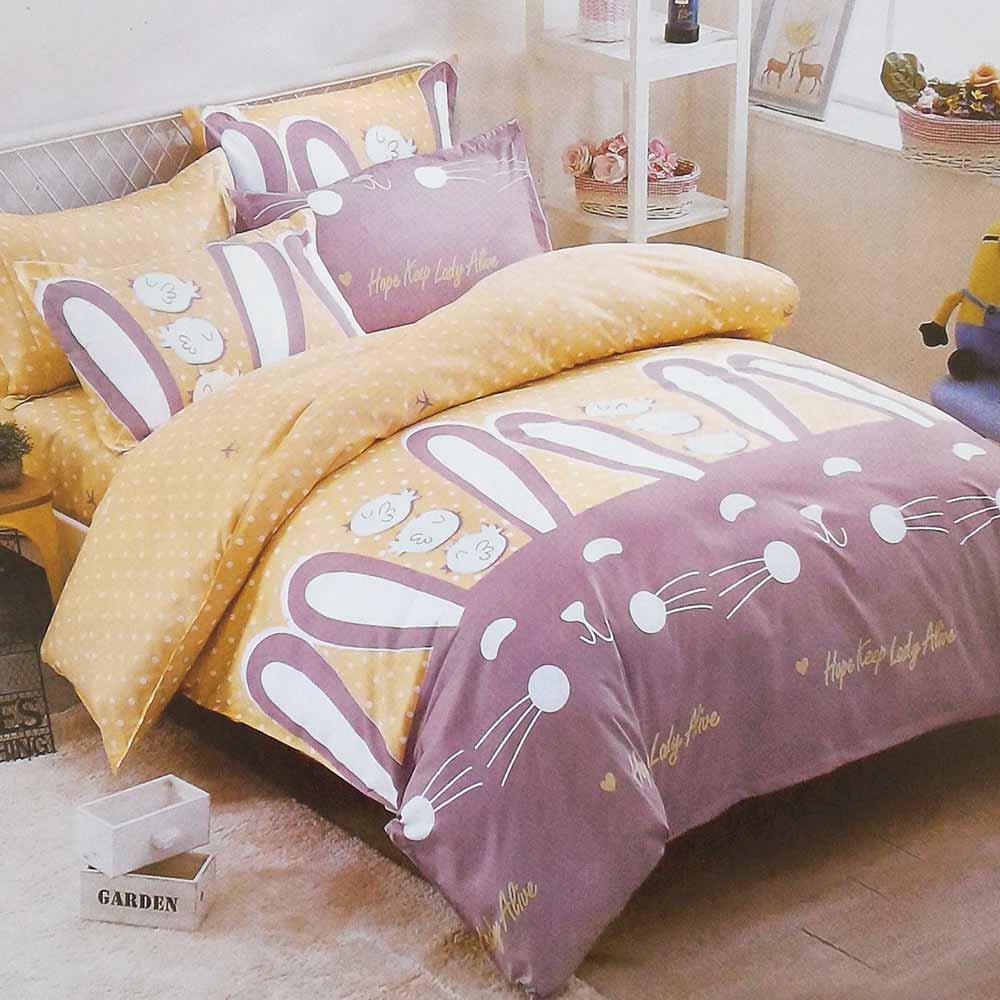 精靈工廠 療癒系天鵝絲絨加大床包三件套-貝貝兔