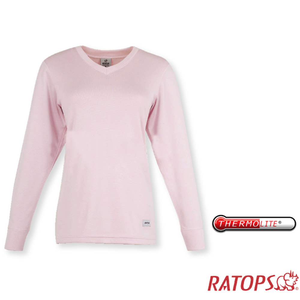 【瑞多仕】女款 Thermolite 保暖V領內衣.衛生衣_DB5086 淺粉紅