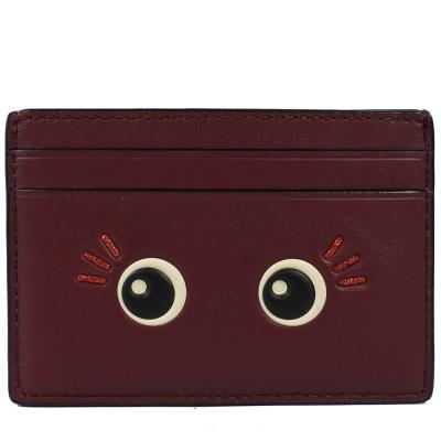 COACH 表情圖案牛皮卡片夾(暗紅)COACH