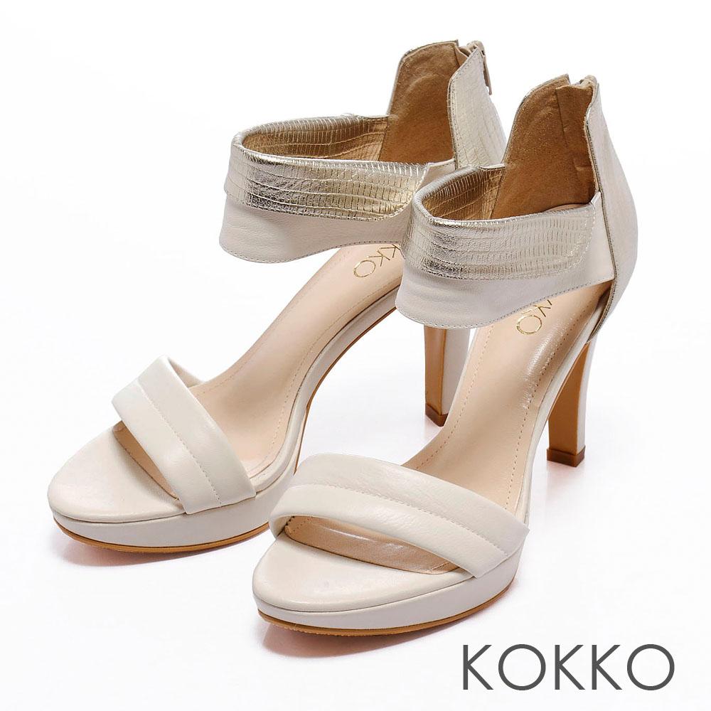 KOKKO中性時尚美學-2WAY金屬皮革拼接涼跟鞋-杏白金