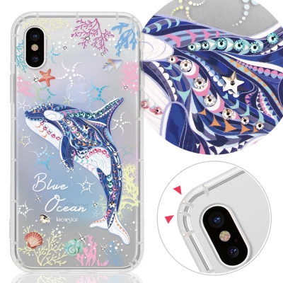 KnowStar APPLE iPhone X 奧地利彩鑽防摔手機殼-藍色海洋
