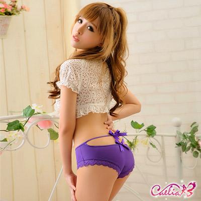 內褲 俏麗後臀三角內褲(紫)  Caelia