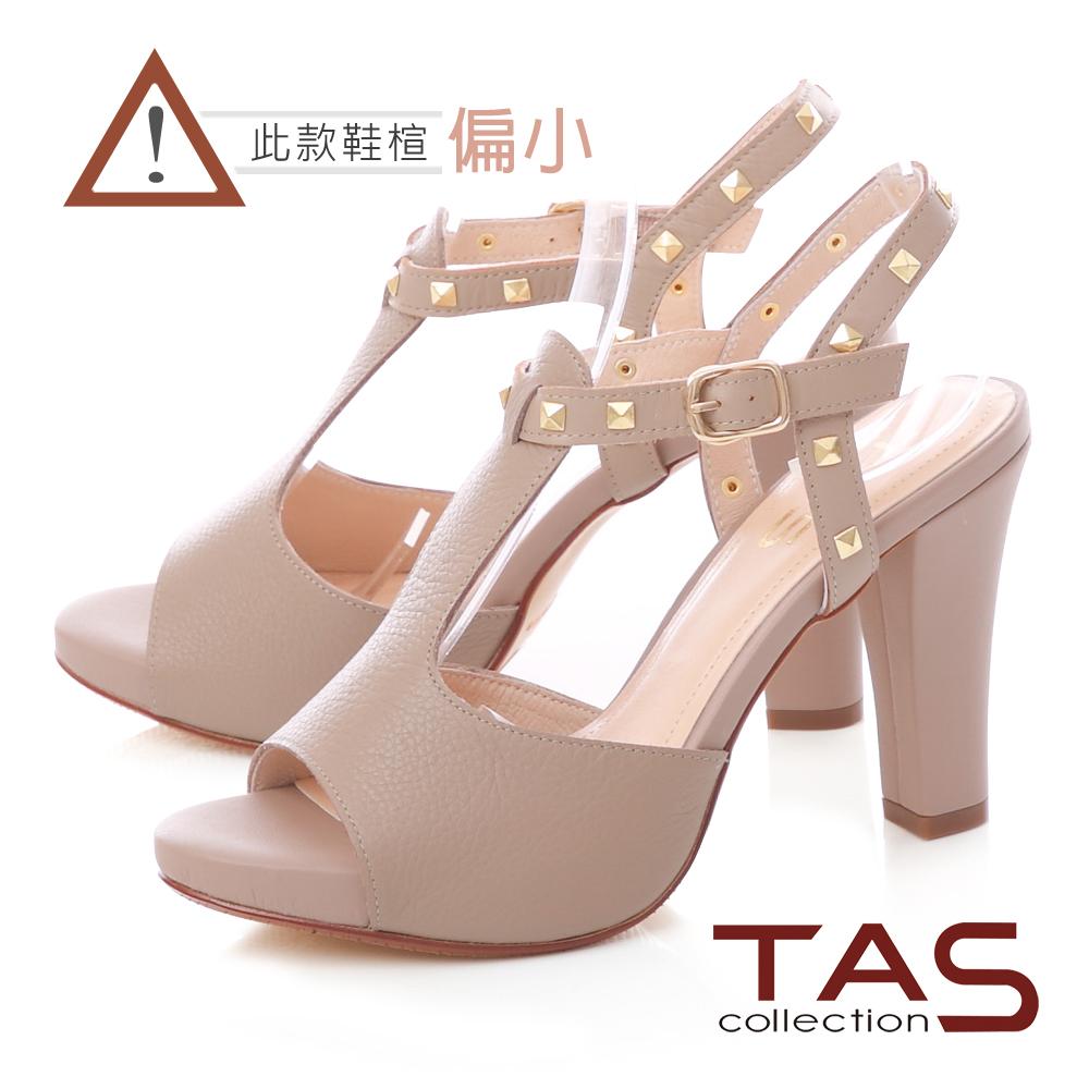 TAS 金屬鉚釘T字繫帶高跟涼鞋-俐落卡其