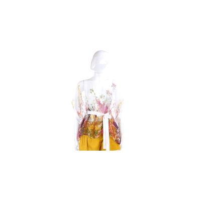 PAOLA FRANI 白色花卉雪紡短袖上衣