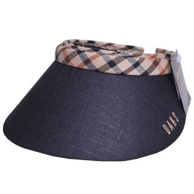 DAKS 經點字母刺繡LOGO格紋頭圍滾邊造型遮陽帽(黑色)
