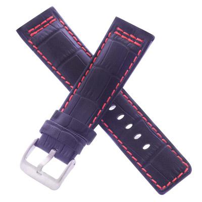 旺旺精品 高級進口錶帶代用名廠同級英倫風黑色壓紋車紅線牛皮錶帶-24*22mm