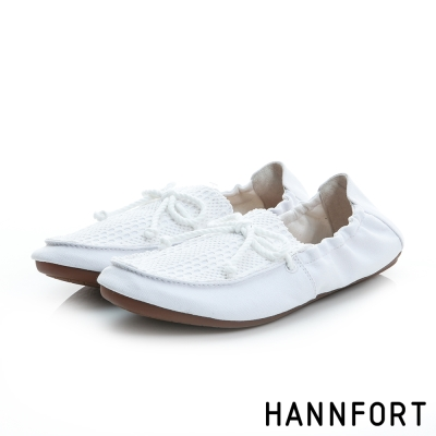 HANNFORT FLEX360莫卡辛折疊樂福鞋-女-純淨白