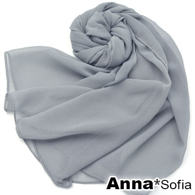 AnnaSofia-素面單色-雪紡長絲巾-質感砂紋