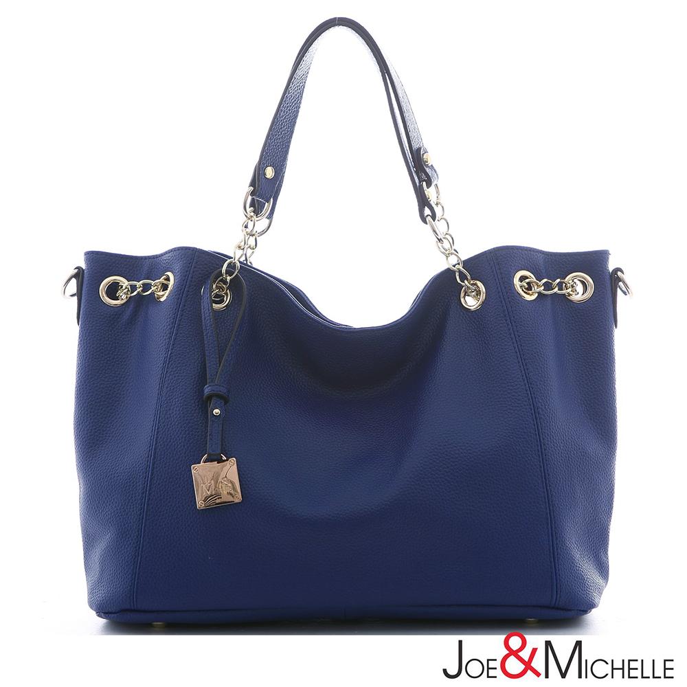 J&M 真皮薇莉亞配鍊束口包  琉璃藍