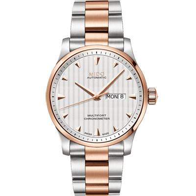 MIDO 美度 Multifort 先鋒系列經典機械腕錶-銀x玫瑰金/42mm