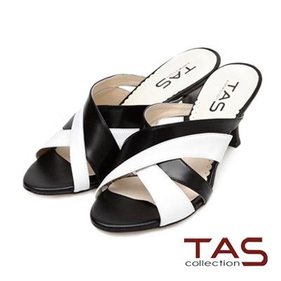 TAS-寬版雙色交叉鏤空涼拖鞋-經典黑