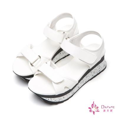 達芙妮DAPHNE-青春滿點金屬感小沖孔休閒厚底涼鞋-清新白