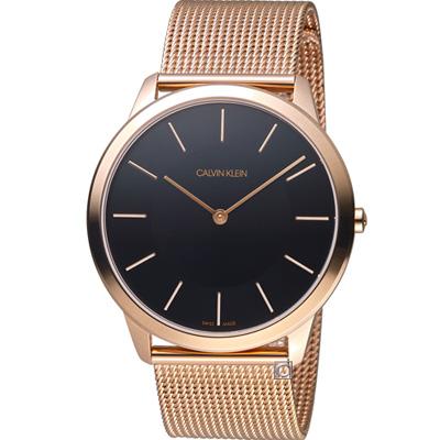 Calvin Klein ck 極簡米蘭帶腕錶(K3M2T621)黑x玫瑰金/44mm