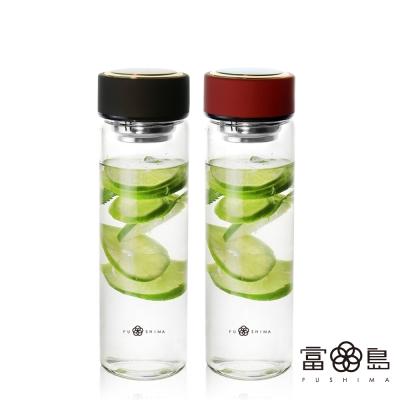 日系FUSHIMA禪風雅泡茶耐熱玻璃隨手瓶550ML 2色可選