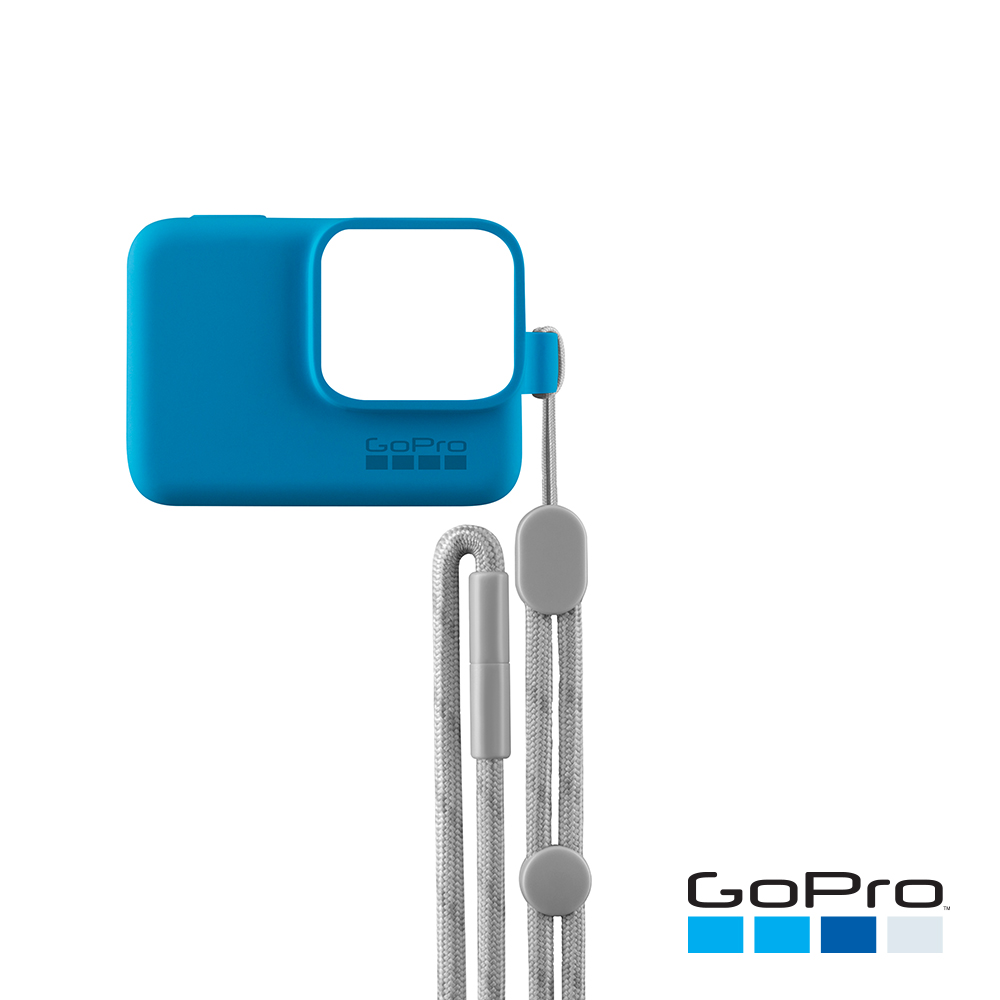 GoPro-HERO5/6/7Black專用矽膠護套+繫繩 藍色ACSST-003