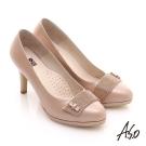 A.S.O 甜蜜樂章 水鑽真皮甜美緞面高跟鞋 橘