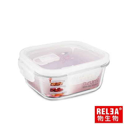 RELEA 物生物 方形耐熱玻璃微波保鮮盒-520ml