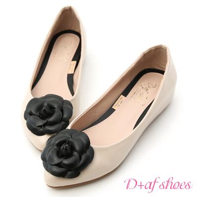 D+AF 法式古典.立體山茶花內增高娃娃鞋*粉