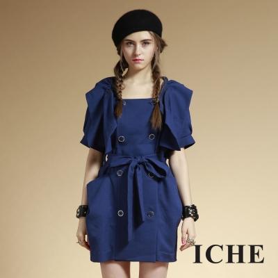 ICHE衣哲 雙排釦造型翻領藍外套洋裝