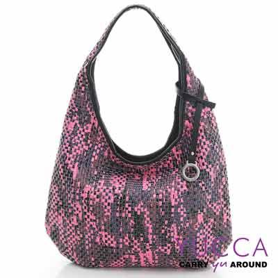 YUCCA - 國際潮流配色手工編織包-紫紅色- D0117012