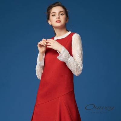 OUWEY歐薇 優雅縷空蕾絲外搭上衣(白)-動態show
