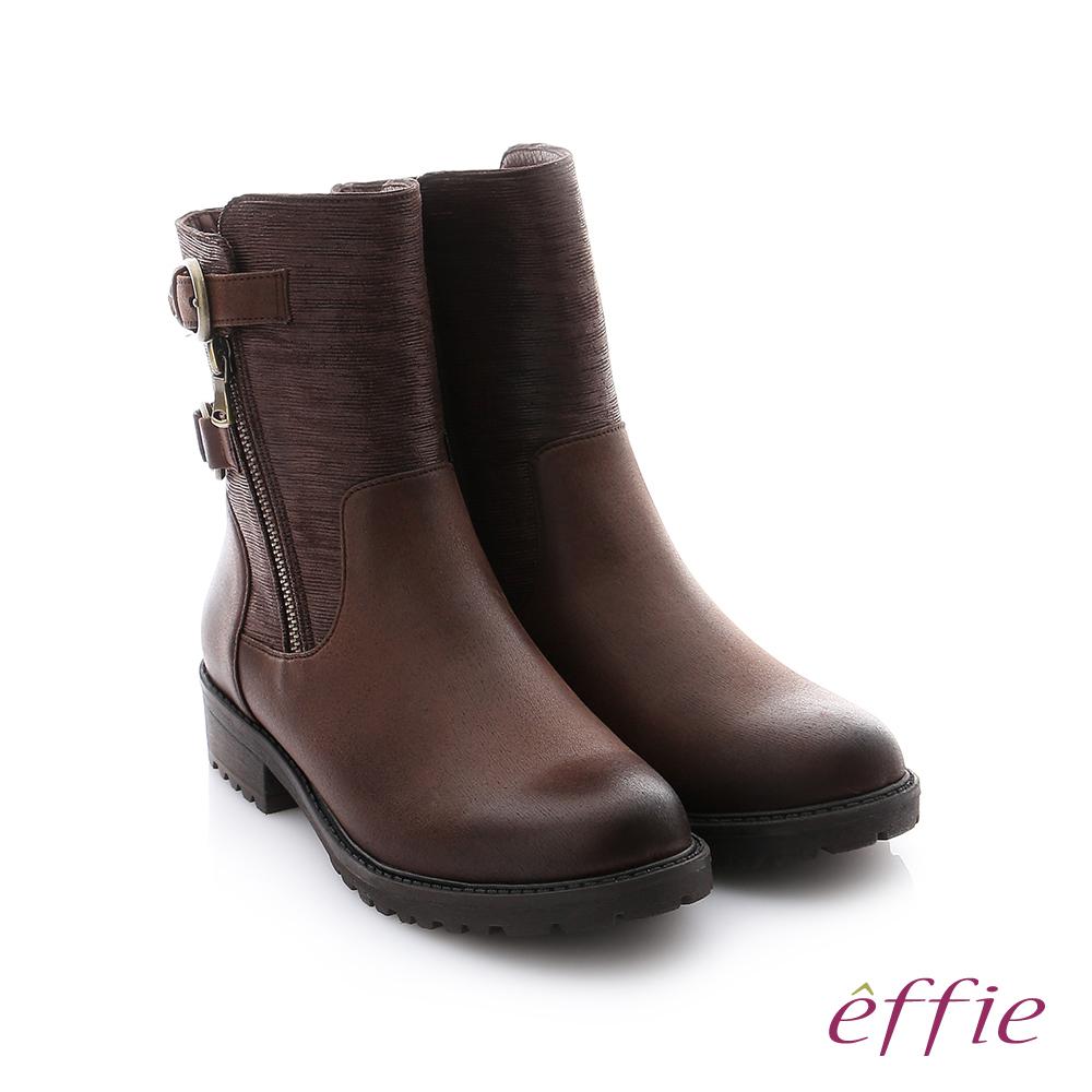 effie 個性美型 防潑水麂皮扣帶拉鍊中筒靴 深咖啡色