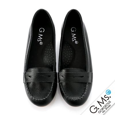 【G.Ms.】Q彈新主張‧簡約莫卡辛真皮內增高豆豆鞋‧學院黑