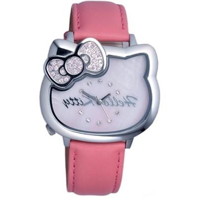 HELLO KITTY 凱蒂貓愛戀經典造型手錶-桃紅x銀/35mm