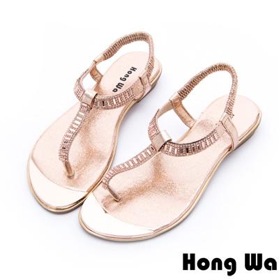 Hong Wa - 網美時尚3D水鑽貼飾休閒涼鞋 - 金