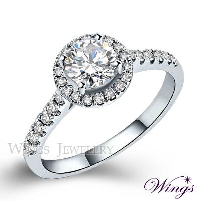 Wings 燦星 經典環鑽時尚款 八心八箭精鍍白金戒指