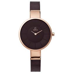 OBAKU 采麗時刻時尚腕錶-咖啡x玫瑰金框/32mm