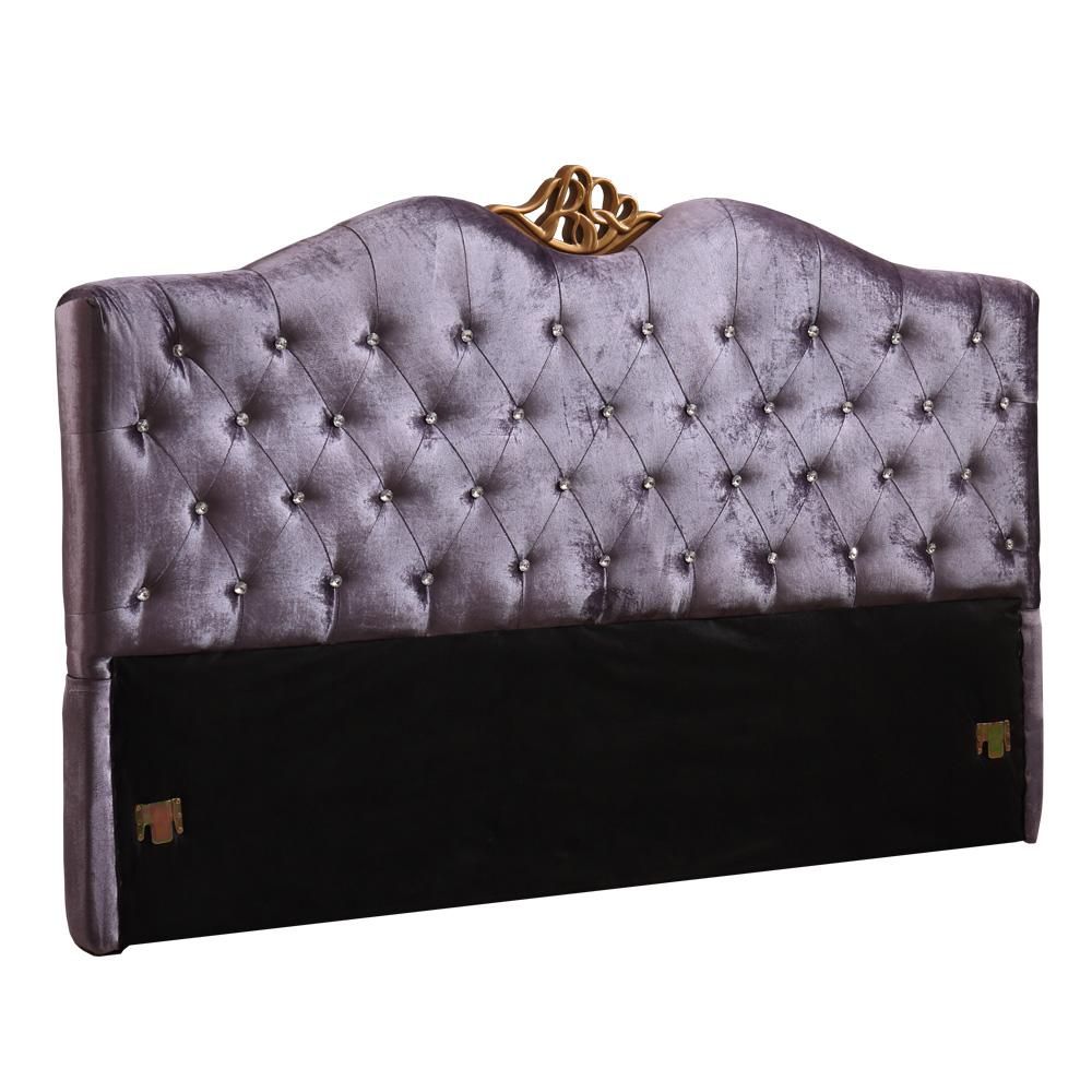 AT HOME-紫羅藍5尺紫色水鑽絲絨雙人床頭片(153*12*124cm)