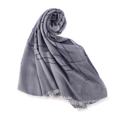 ARMANI COLLEZIONI 經典大字母LOGO流蘇披肩圍巾-灰紫色