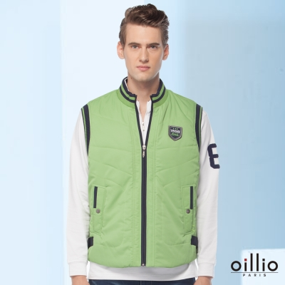 歐洲貴族oillio-保暖背心-盾牌魅力-邊線線條-綠色