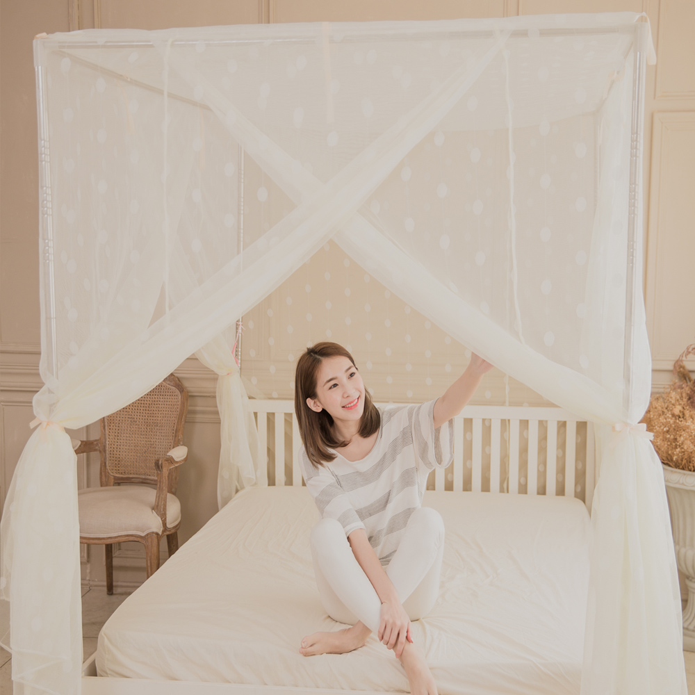 凱蕾絲帝-台灣製造-加長加高針織蚊帳+不鏽鋼支架-米白150*200*200公分開三門