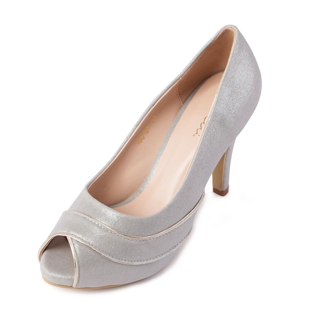 Chichi璀璨名媛-珠光氣質魚口高跟鞋*銀色