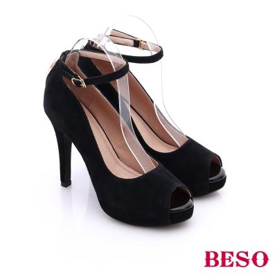BESO-都會摩登女郎-個性素面後拉鍊魚口高跟鞋-黑色