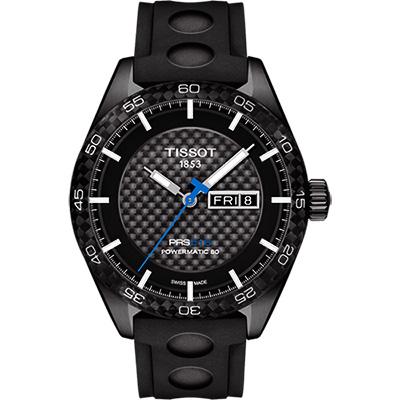 TISSOT PRS516系列時尚機械腕錶-黑x橡膠錶帶42mm