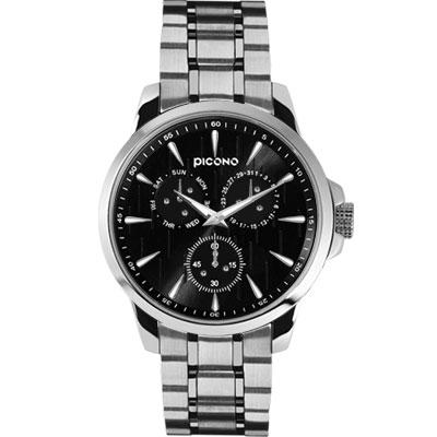 PICONO 情境系列 真實生活時尚腕錶-雨天-黑x銀框/ 48 mm