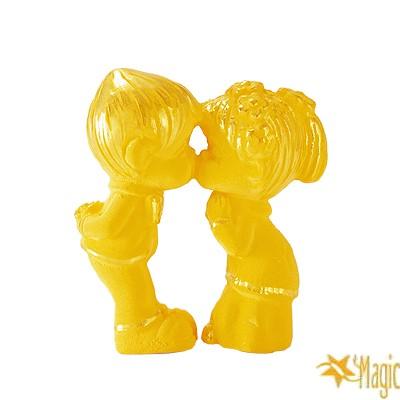 【Magic魔法金】結婚親嘴( 0.2錢) 賀囍立體黃金 (木盒精裝)