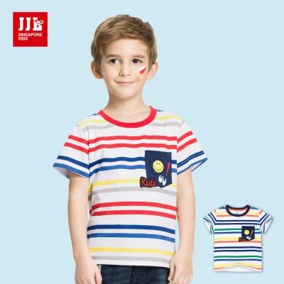 JJLKIDS 笑臉藍眼睛條紋純棉T恤(2色)