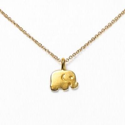 【Dogeared】峇里島泰國大象側影金色許願項鍊