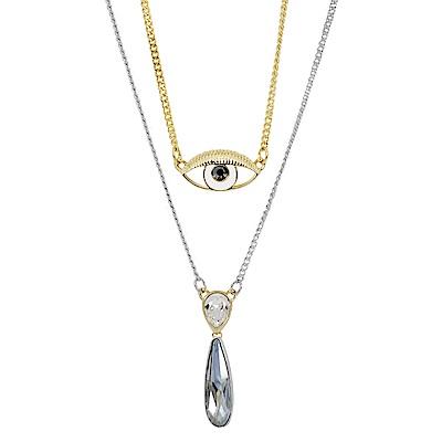 SWAROVSKI 施華洛世奇 吉普賽之眼x淚滴造型水晶 多層次金銀雙色項鍊