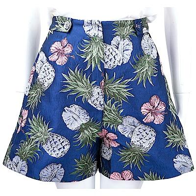 PINKO 泰絲鳳梨刺繡圖騰湛藍色挺版寬口短褲