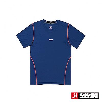 SASAKI 高彈力機能性運動緊身圓領短衫-男-淺丈青/艷桔