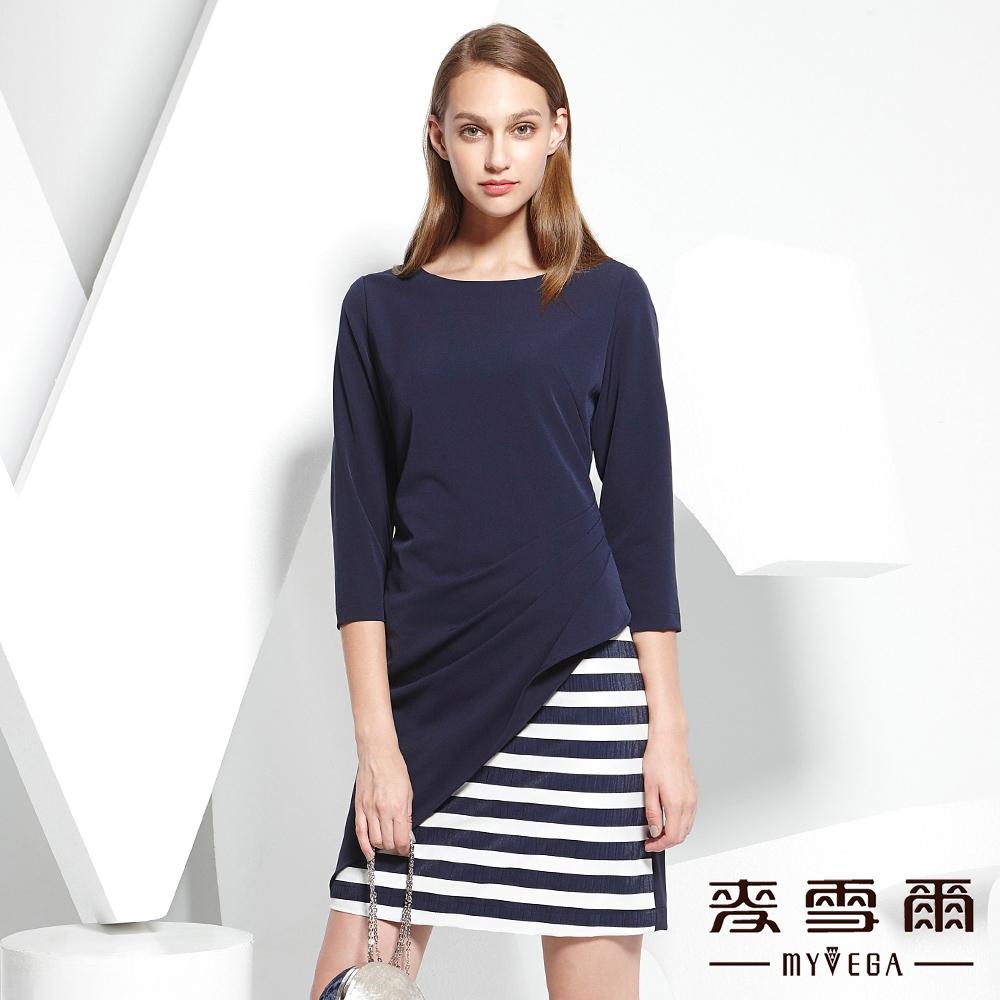 麥雪爾 兩件式圓領抽摺條紋洋裝