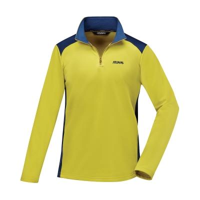 【ATUNAS 歐都納】男款透氣吸濕排汗長袖保暖POLO衫A1-P1720M檸檬黃